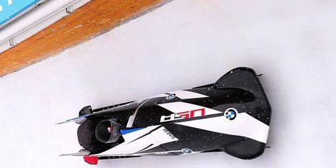 The BMW bobsled races at Utah Olympic Park in Park City, Utah.