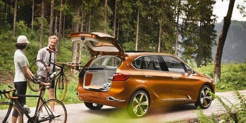 The new BMW X1 will have a lot in common with the 2-series Active Tourer -- including a front-wheel drive/transverse-mounted engine layout. The sports/activity-oriented Outdoor concept is shown above.