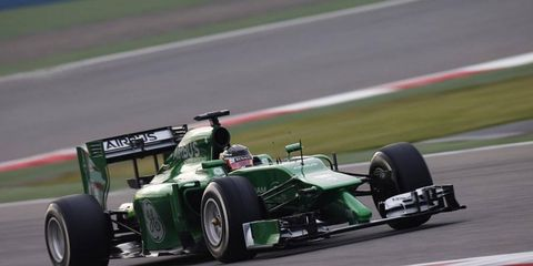 Kamui Kobayashi tests his Renault-powered  Caterham F1 car in Bahrain.