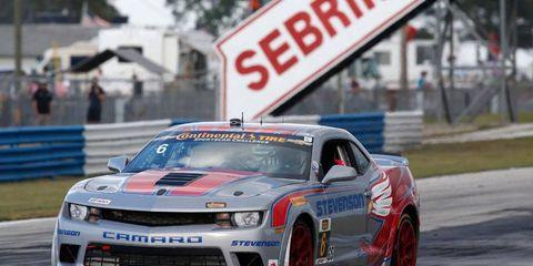 Robin Liddell and Andrew Davis drove the Stevenvson Motorsports Chevrolet Camero Z28.R in victory lane at Sebring International Raceway on Friday.
