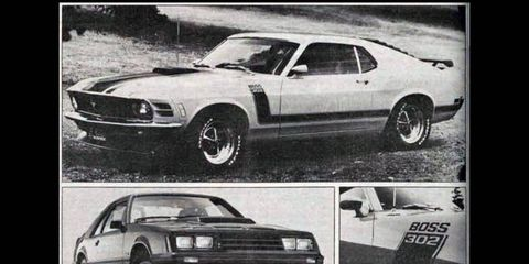The 1983 Ford Mustang GT wasn't an official successor to the Boss 302, but that didn't stop us from drawing comparisons. A 1982 Mustang GT is shown.