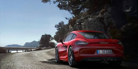 The Porsche Cayman GTS, revealed this week, uses a 335-hp flat six engine; future models will get a higher-powered flat four.