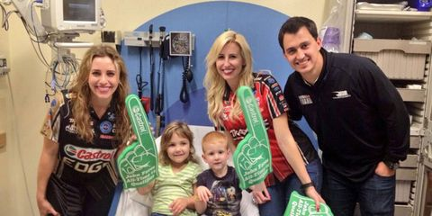 Courtney Force, joined by sister Brittany and IndyCar driver Graham Rahal, recently visited with children at the UF Shands Children's Hospital in Florida.