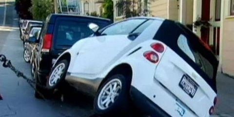 Smart cars are being flipped in the San Francisco Bay Area.