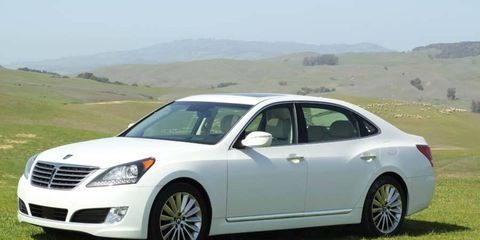 The Hyundai Equus Ultimate parked in the rolling, sheep-trimmed hills overlooking Sonoma Raceway.