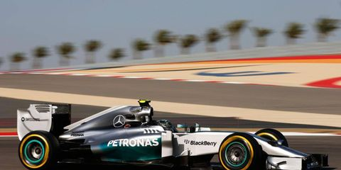 Nico Rosberg made it three poles in three races for Mercedes with his fast lap in Bahrain on Saturday.