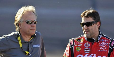 Gene Haas, standing next to NASCAR driver Tony Stewart, could be the newest Formula One team owner.