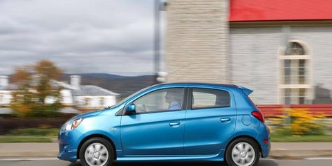 The 2014 Mitsubishi Mirage ES receives an EPA-estimated 40 mpg combined fuel economy rating.