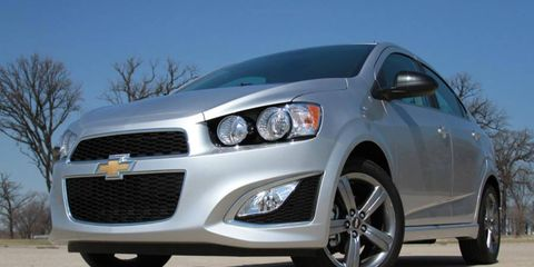 The 2014 Chevy Sonic RS sedan delivers 138 hp and 148 lb-ft of torque.