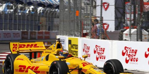 Ryan Hunter Reay won the pole for Sunday's IndyCar race at Long Beach.