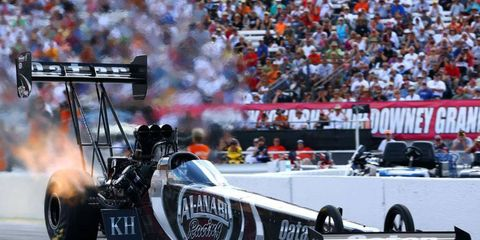 Shawn Langdon won his first NHRA Top Fuel title on Saturday night in Pomona.