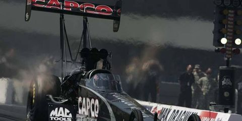 Steve Torrence took the top qualifying spot in Saturday's NHRA event in Texas.