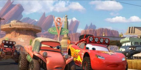 A gang of desert racers challenges McQueen to a race in 'The Radiator Springs 500 1/2.'