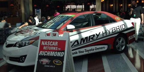 On Sunday at Richmond, Washington Redskins quarterback Robert Griffin III will act as the honorary pace car driver and Grand Marshall. He'll driver a Toyota Camry Hybrid.