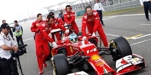 Fernando Alonso brought his Ferrari home in third place in Shanghai on Sunday.