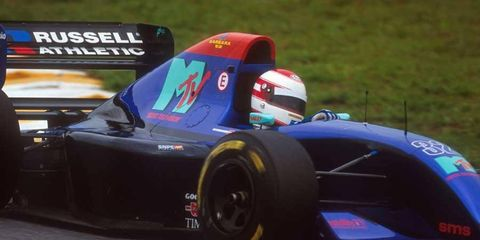 Roland Ratzenberger drives his Simtek-Ford in the 1994 Brazilian Grand Prix.