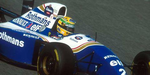 Ayrton Senna races in the 1994 San Marino Grand Prix before his fateful crash.