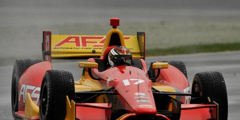 Sebastian Saavedra survived the Fast Six qualifying to win the pole at Indianapolis on Friday.