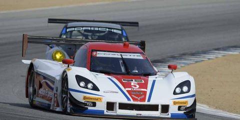 João Barbosa drives at Mazda Raceway in Laguna Seca, California on May 3, 2014.