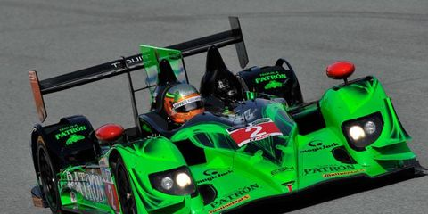 Johannes van Overbeek and Ed Brown drove the No. 2 Tequila Patrón  HPD ARX-03b/Honda to the Prototype class win at Mazda Raceway Laguna Seca.