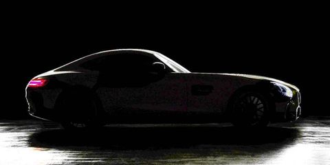 This photo gives us a taste of the upcoming Mercedes-AMG GT's proportions, but the details remain hidden in the shadows.