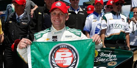 Ed Carpenter is hoping that his second pole at the Indianapolis 500 leads to something more impressive than a flag on race day. He'd gladly trade that flag in for a bottle of milk.