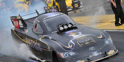 Alexis DeJoria's track-track record pass of 3.786 seconds held up for the No. 1 qualifying spot in the Funny Car class at Atlanta Dragway.