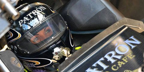 Alexis DeJoria claimed the provisional No. 1 qualifying spot for Michigan-based Kalitta Motorsports at Atlanta on Friday night.