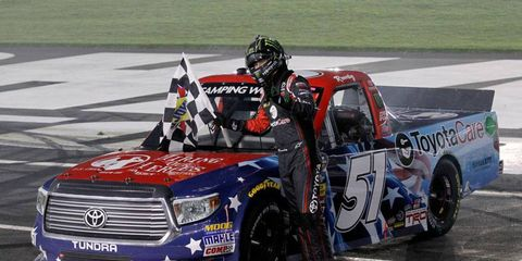 Kyle Busch won his third NASCAR Camping World Truck Series race of the season on Friday at Charlotte Motor Speedway.