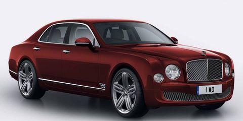 The Bentley Mulsanne 95 comes in Oxford white, Britannia blue and empire red.