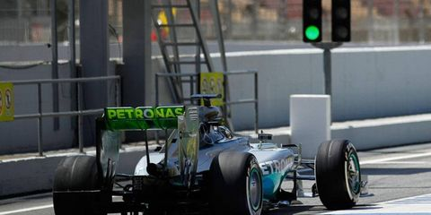 Nico Rosberg's Mercedes rolls off the pits during a test session this week in Barcelona.