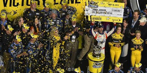 Jimmie Johnson took home the victory in the 2013 running of the All-Star Race.