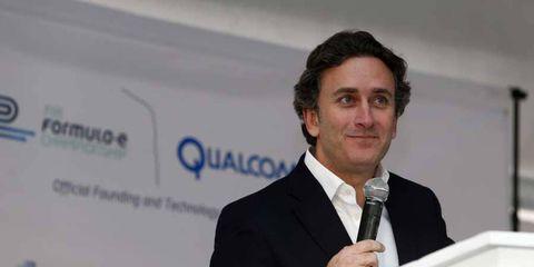 Alejandro Agag, CEO Formula E Holdings, addresses the media at a press event to introduce the new Spark-Renault SRT_01E Formula E car in January.