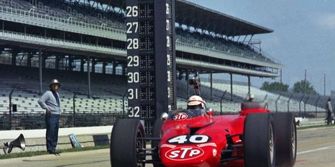 Parnelli Jones heads out onto the track in the Whooshmobile in 1967.