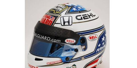 IndyCar Series driver Graham Rahal's helmet sports the Bell Racing helmet-visor strips that will be used by drivers in the Indianapolis 500 on May 25.