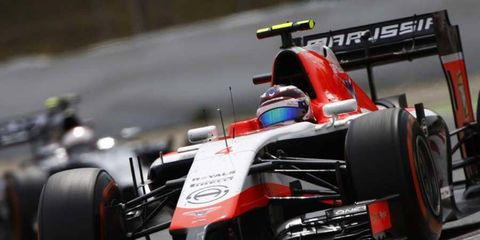 Max Chilton (seen here during the Spanish GP) found himself ahead of the pack during Formula One testing in Barcelona.