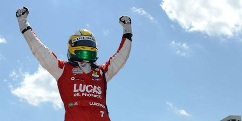 Luis Razia won the 40-lap race on the Indianapolis Motor Speedway road course on Saturday.