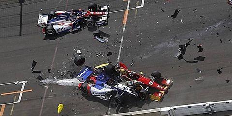 Sebastian Saavedra (No. 17) stalled at the start of the Grand Prix of Indianapolis, causing Mikhail Aleshin (No. 7) to crash into him.
