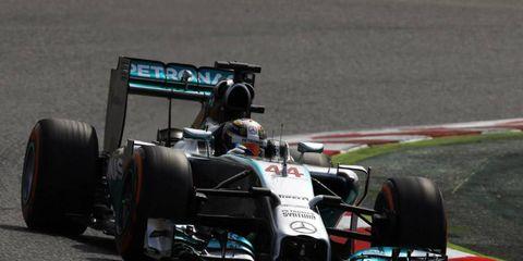 Lewis Hamilton drove his Mercedes to a pole win on Saturday in Barcelona.