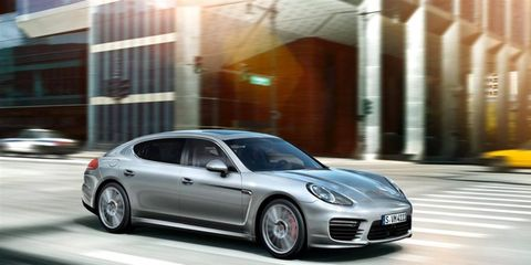 The 2014 Porsche Panamera Turbo is equipped with a 4.8-liter twin-turbocharged V8.