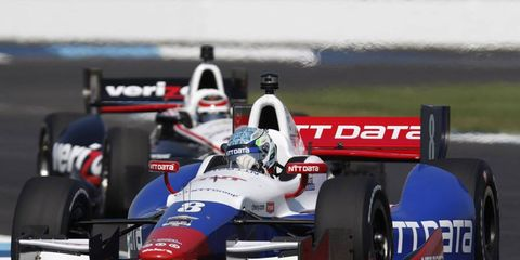 Ryan Briscoe leads Will Power during the Grand Prix of Indianapolis earlier this month. Power got into Briscoe in the late laps of the Indy 500, drawing the ire his fellow Australian.