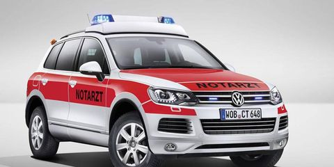 This Touareg has been outfitted for EMT duty.