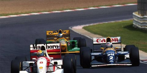 Senna, Prost, and Schumacher at the 1993 South African Grand Prix.