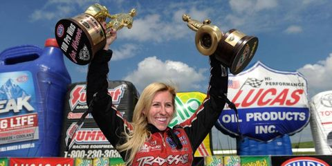 Courtney Force's victory on Sunday at Heartland Park Topeka was the fourth of her career and 100th for women in the NHRA.