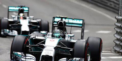Nico Rosberg leads teammate Lewis Hamilton on the street circuit of Monte Carlo on Sunday.