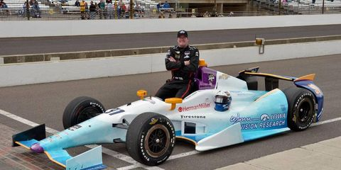 Buddy Lazier is helping to promote the University of Iowa Stephen A. Wynn Institute for Vision Research during this year's Indy 500.