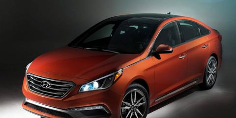 The 2015 Hyundai Sonata goes on sale this month.