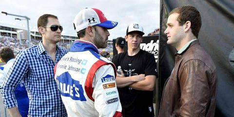 Tyler Clary (right) talks with Jimmie Johnson ahead of the All-Star Race in Charlotte.