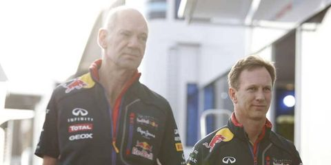 Adrian Newey (left) arrives at the Monaco Grand Prix with Christian Horner.