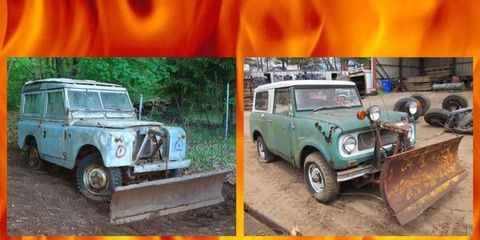 Your very own Land Rover or IHC Scout project, and they come with bonus snowplows!